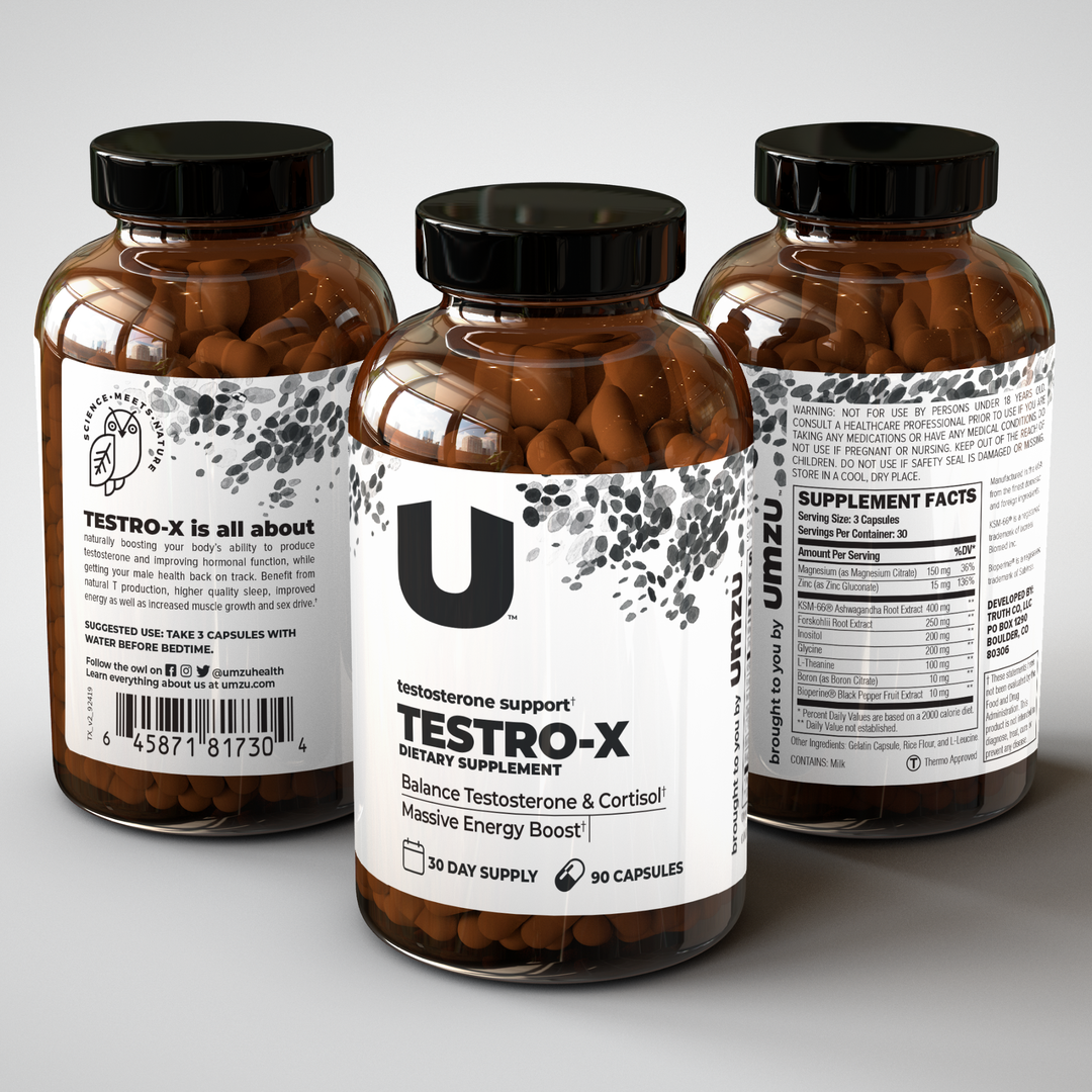 Back of Testro-x bottle that shows nutrition details