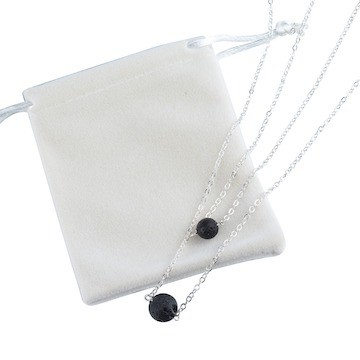 essential oil necklace with velvet bag