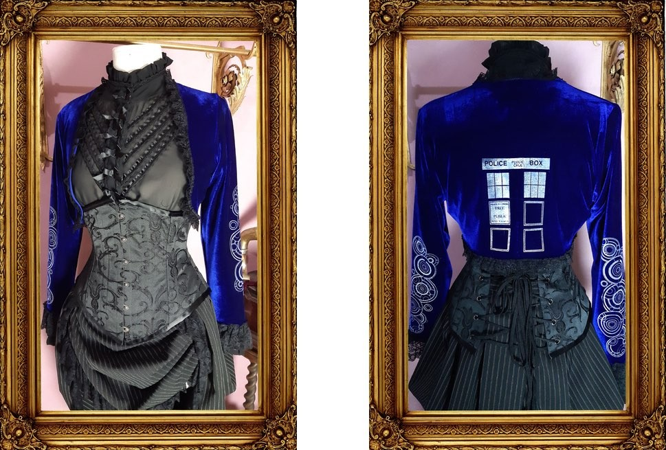 front and back view of the police box gallifrey language bolero in rich deep blue stretch velvet from Gallery Serpentine
