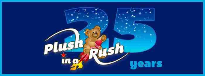 25 Years of Plush in a Rush logo.
