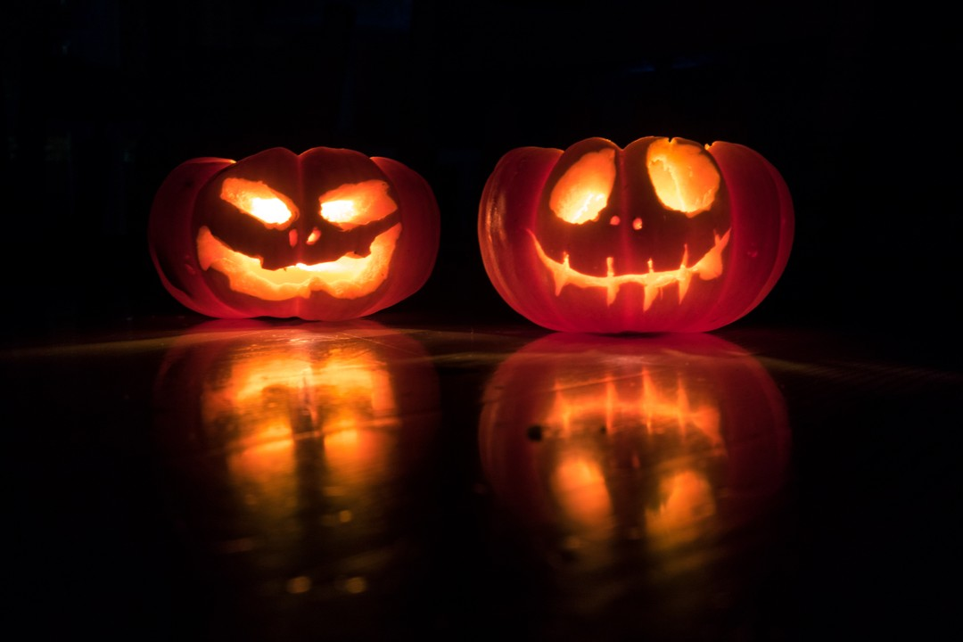 jack-o-lanterns in the dark
