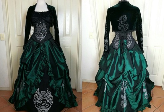 Slytherin inspired corset gown made to your measurements