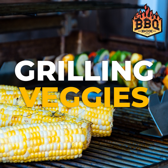 corn and vegetable kebabs on a grill