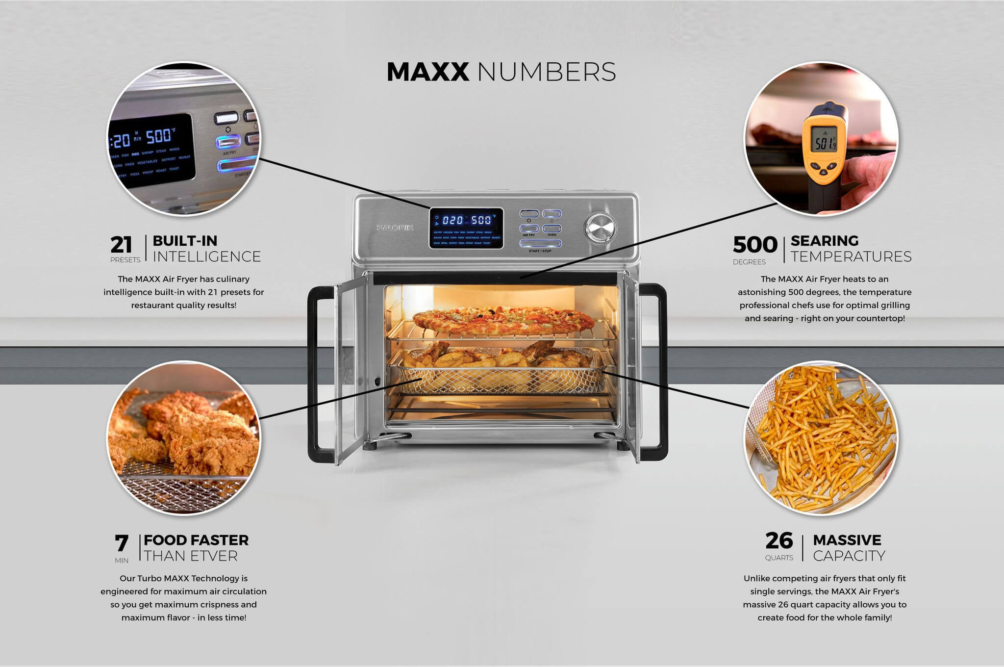 BUILT-IN INTELLIGENCE The MAXX, Air Fryer has culinary intelligence built-in with 21 presets for restaurant quality results, SEARING TEMPERATURES, The MAXX Air Fryer heats to an astonishing 500 degrees, the temperature professional chefs use for optimal grilling and searing - right on your countertop, FOOD FASTER THAN EVER, Our Turbo MAXX Technology is engineered for maximum air circulation so you get maximum crispness and maximum flavor - in less time, MASSIVE CAPACITY, Unlike competing air fryers that only fit single servings, the MAXX Air Fryer's massive 26 quart capacity allows you to create food for the whole family!