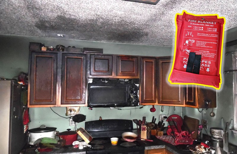Kitchen Fire with Fire Blanket