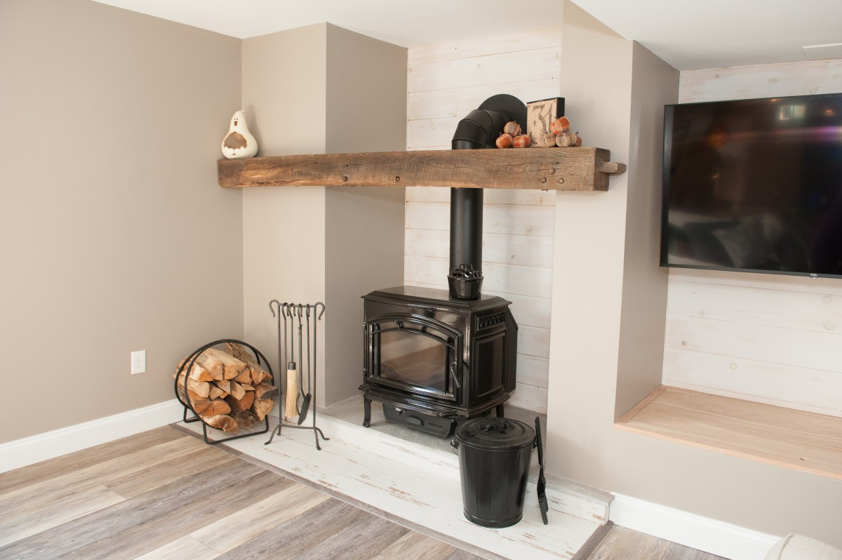 reclaimed wood mantel beam