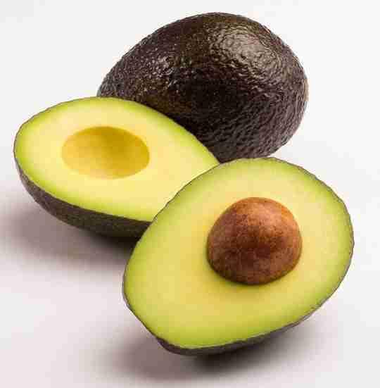 Avocado Whole Avocado Avocado Split in Two Avocado Seed Pit White Background