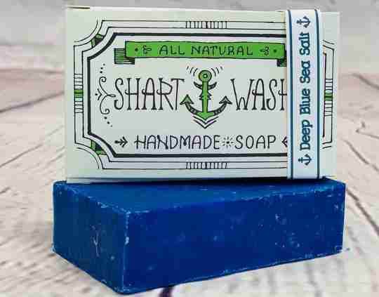Picture of Shart Wash Handmade Soap Bars. Blue Deep Blue Sea Salt scent on a wood background