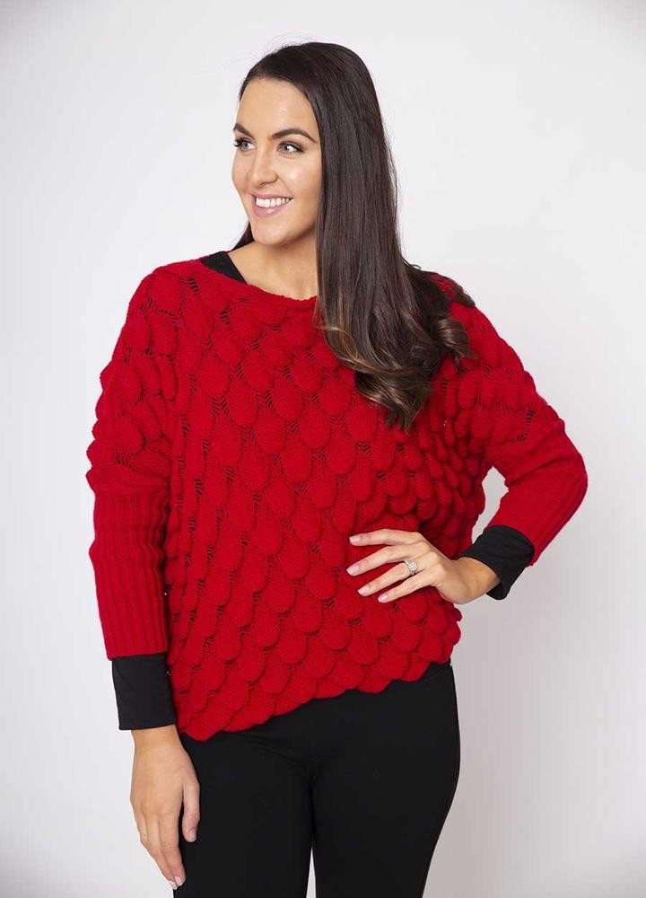 Wave Chunky Jumper in Red