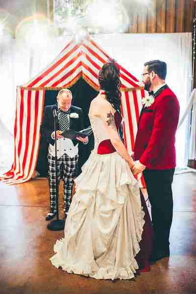 being married by their very own Ring Master under their very own Big Top - Julia & Kurtis