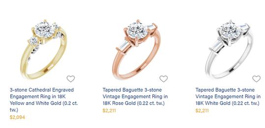 Three styles of Lumera rings