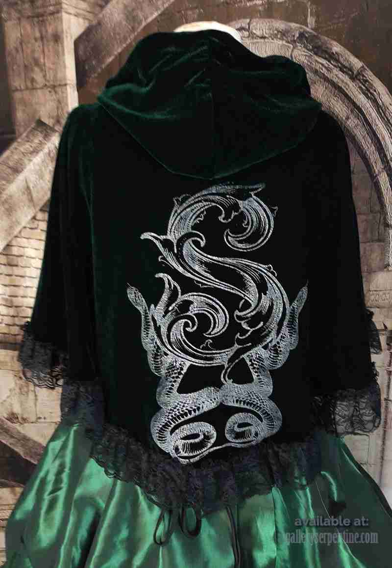 deluxe slythering cape in dark green velvet with silver double snake and baroque S print for slytherin fans and costumes