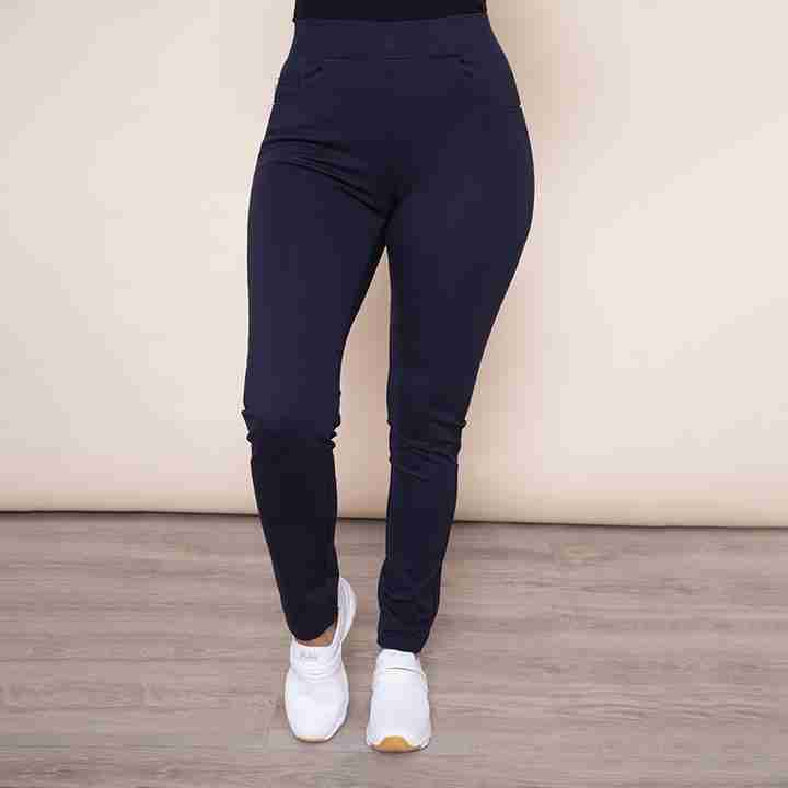 Stretch Waist Stud Pocket Trouser (Navy)