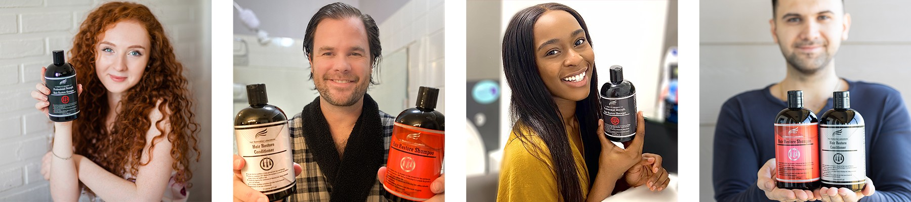 Image of multiple happy people using Hair Restoration Laboratories products