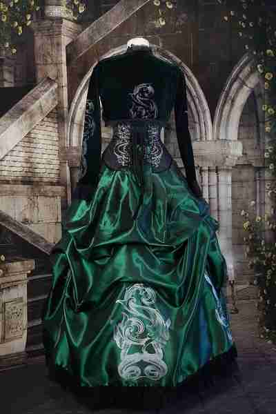 back view of the slytherin inspired corset gown for victorian harry potter cosplay costumes made in Australia