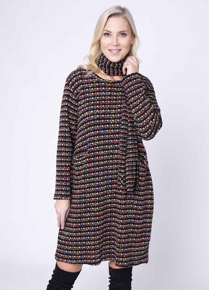 Fine Knit Pocket Dress & Scarf in Beige