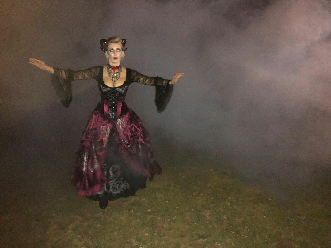 Wuthering Heights anyone, coming out of the fog at Monte Cristo, Silvia wearing Gallery Serpentine Baroque Scrolls gown