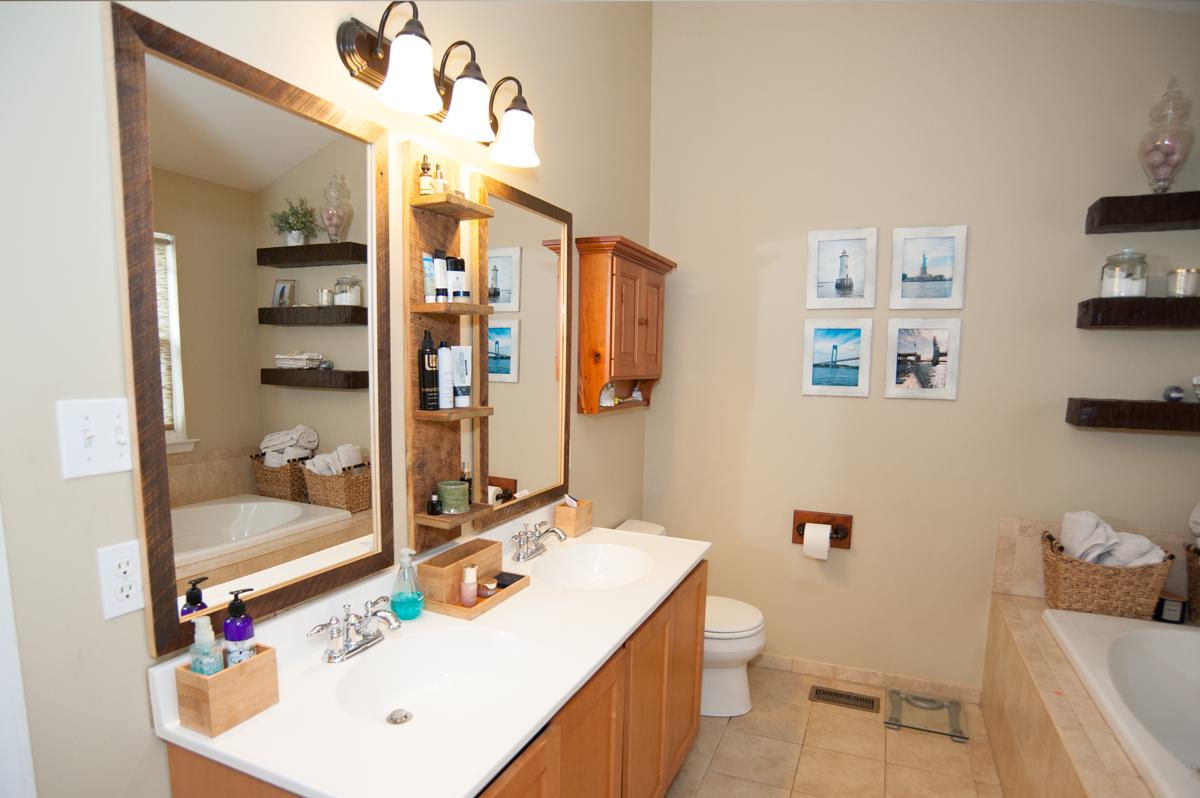 barnwood mirrors in bathroom