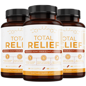 three bottles of the Total Relief supplement