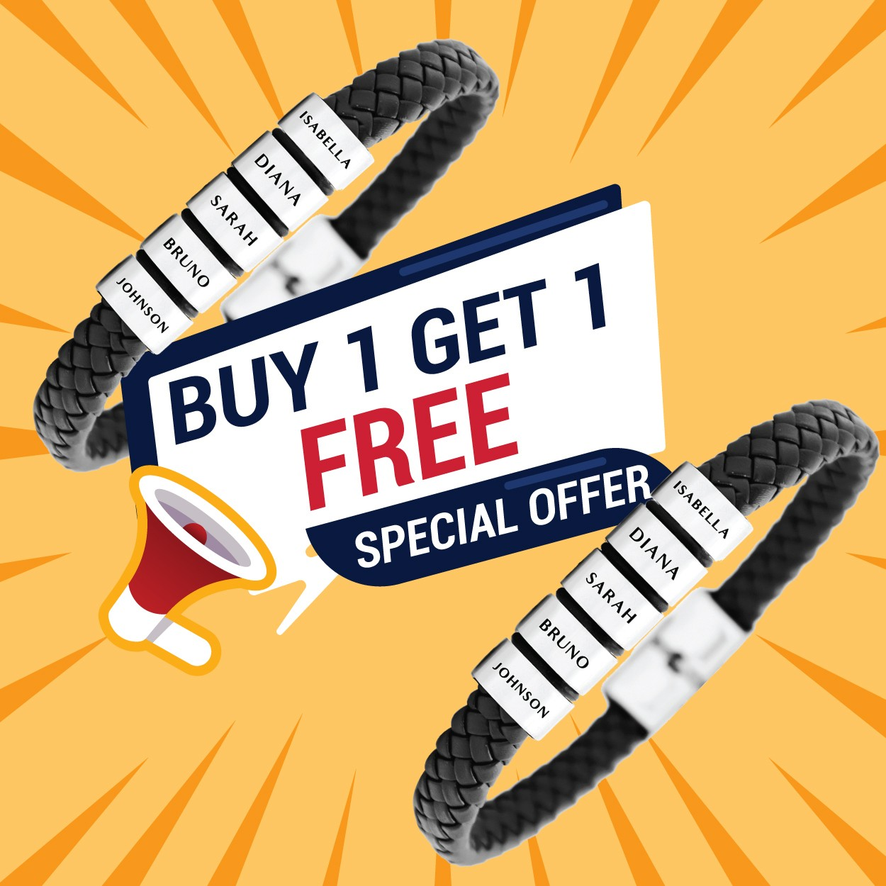 Buy One Get One Personalised Leather Bracelet Belle Fever