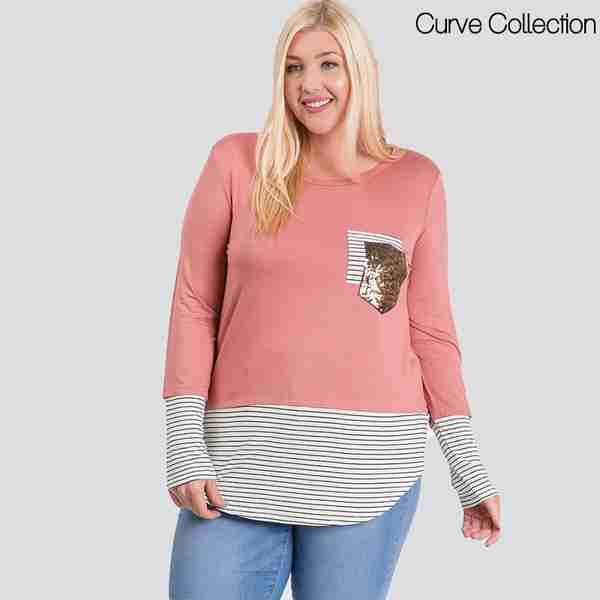 Curve Sule Striped Hem Pocket Top (Rose)