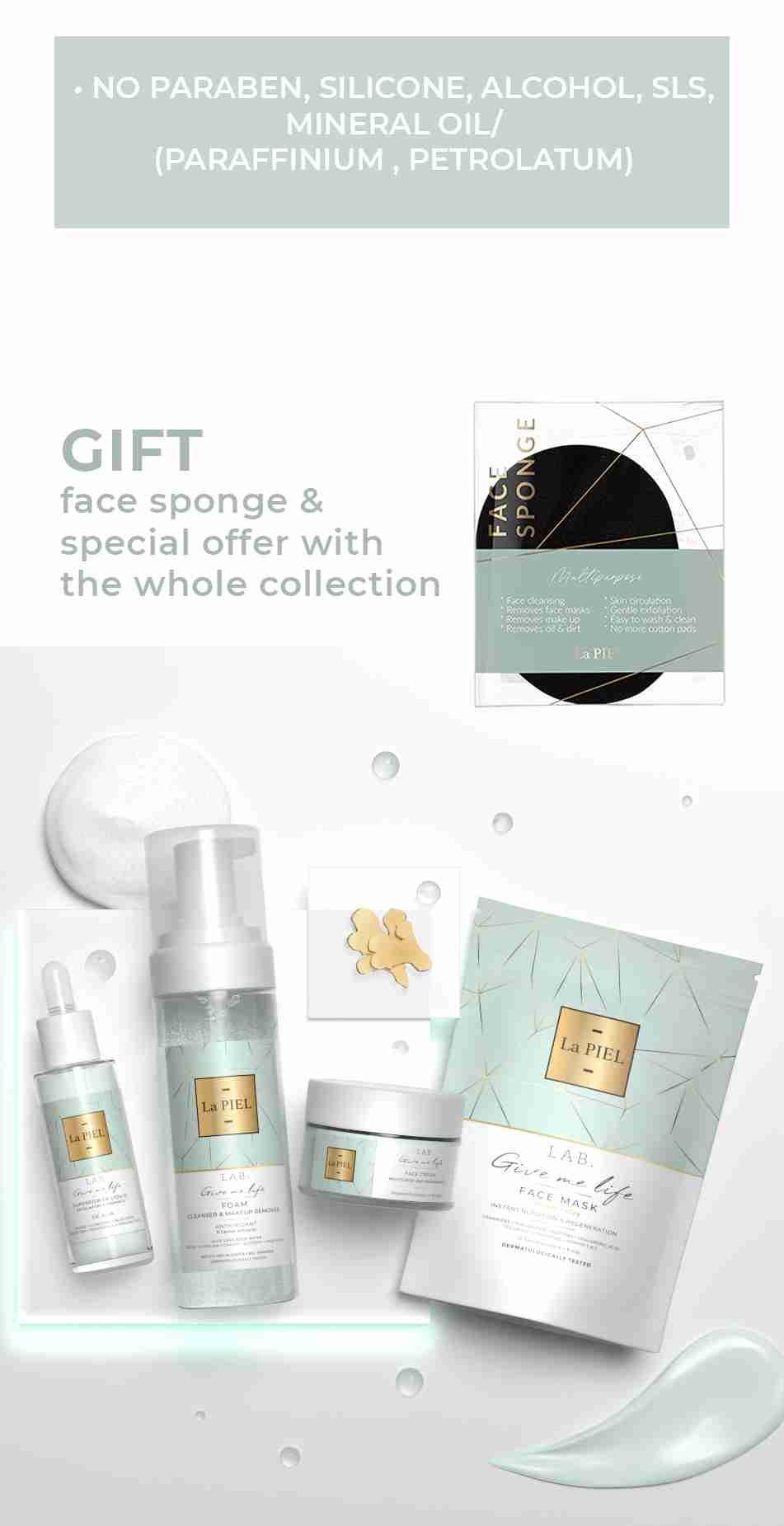 Free Face Sponge & Sale On Face Collection Bundle La PIEL LAB Natural Skincare