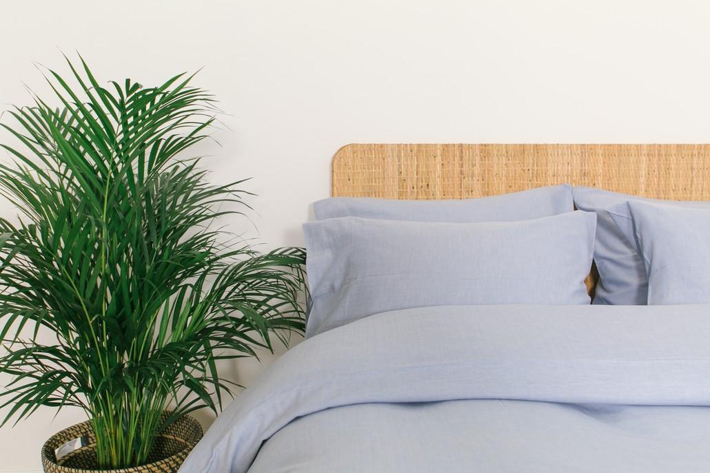 Blue Herringbone Woven Bundle Set with No Trim