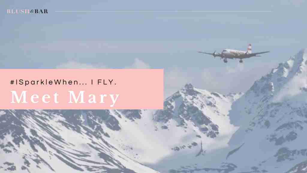 Meet Mary - Header intro mountain skyline with plane