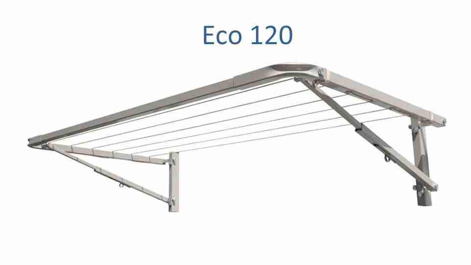 eco 120 clothesline at 0.8m wide and multiple depths installed onto brick wall