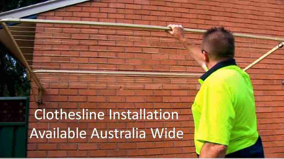 2100mm wide clothesline installation service showing clothesline installer with clothesline installed to brick wall