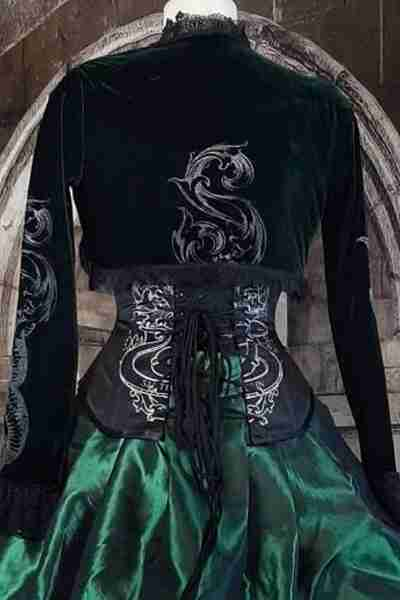 back of the Slytherin Inspired Bolero showing the baroque scroll 'S' screen print over a black under bust corset