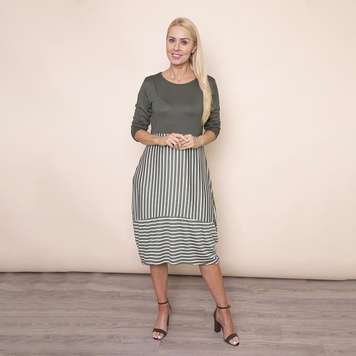 Long Sleeve Stripe Dress in Khaki