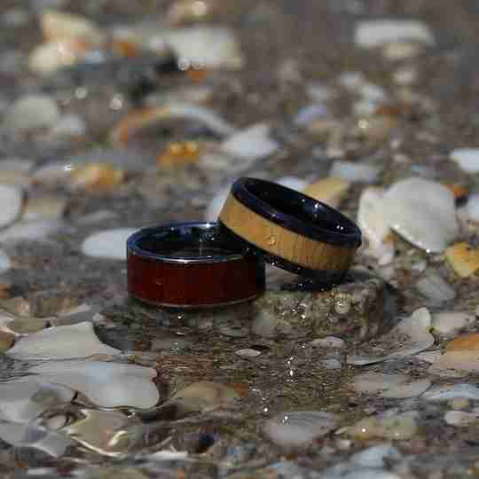Two Brilliance.com wedding bands at the beach