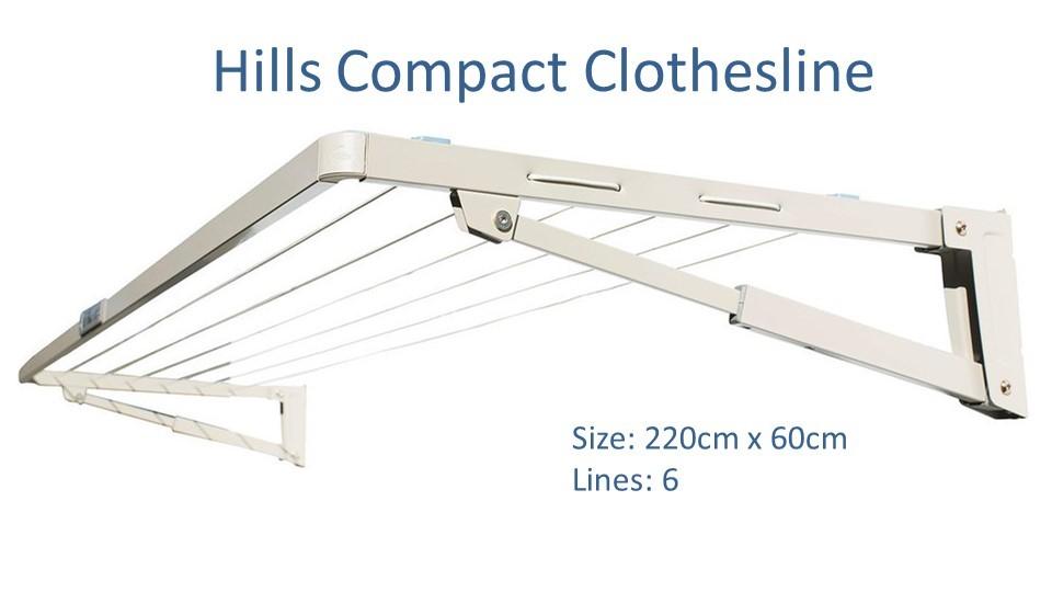 hills compact 220cm wide clothesline dimensions