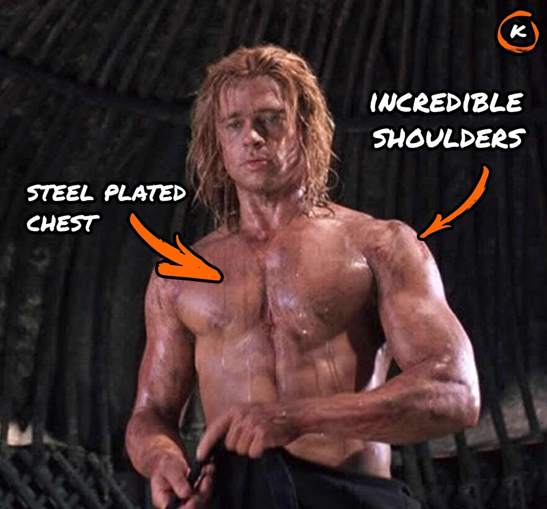 steel plated chest and incredible shoulders