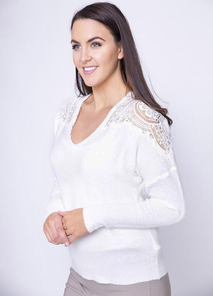 Lace Shoulder V Neck Jumper in White