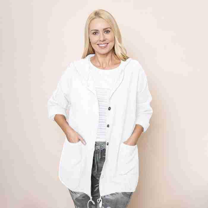 Crinkle Cotton Hoody Jacket (White)