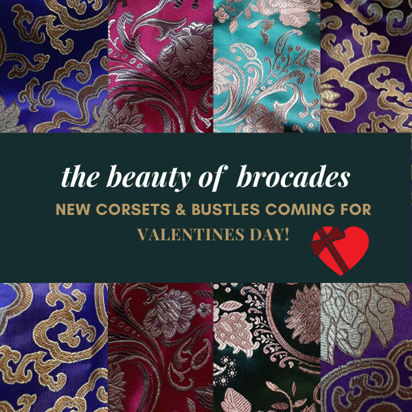 layout of 4 oriental brocades in purple, scarlet, teal, black, plum with a banner across top to announce valentines day corsets and bustles