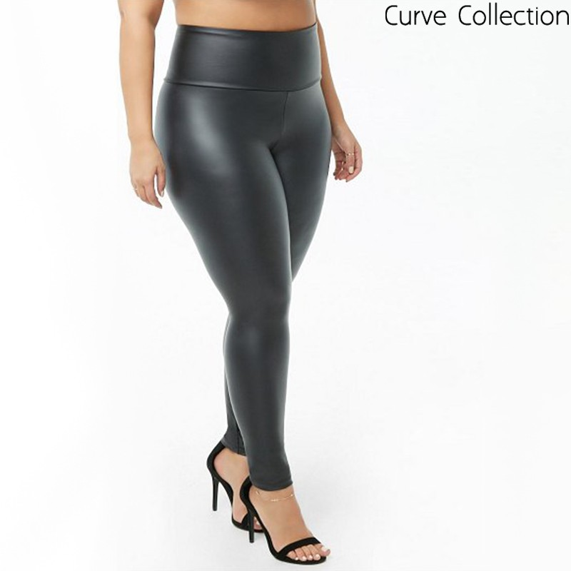 Wet Look PU Leggings Black (Curve)