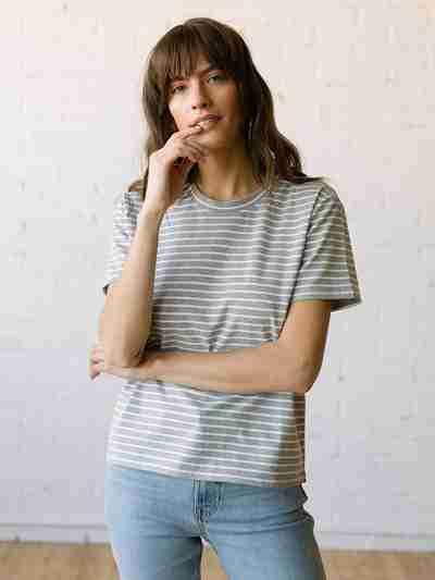Staff Picks - Tradlands Box T-Shirt Grey Stripe