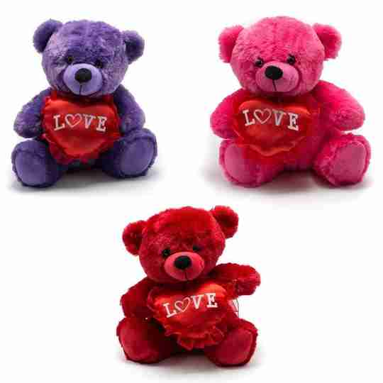 Three Valentine bears in different colors.