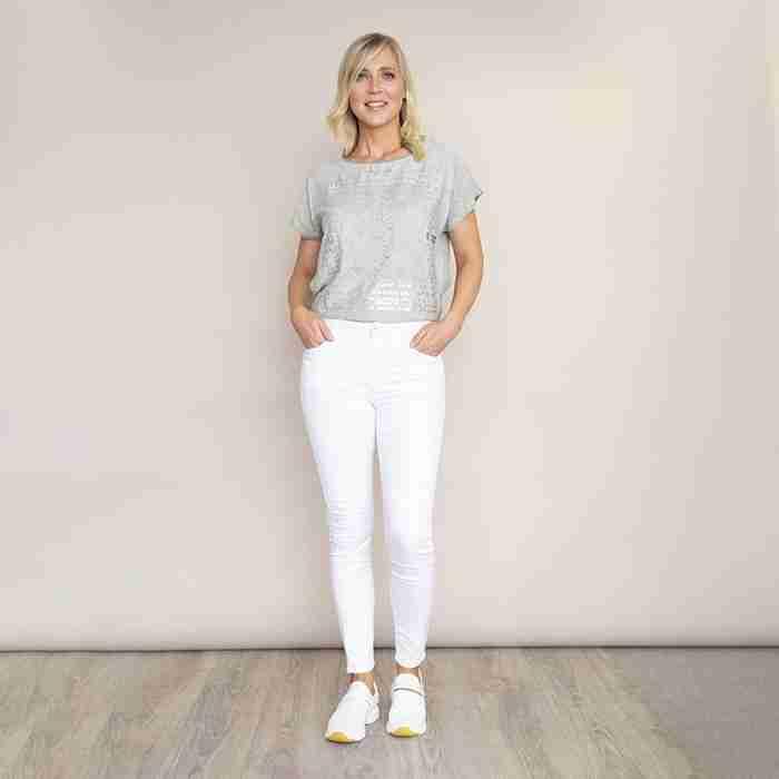 Bianko Stretch Waist Cotton Trouser(White)