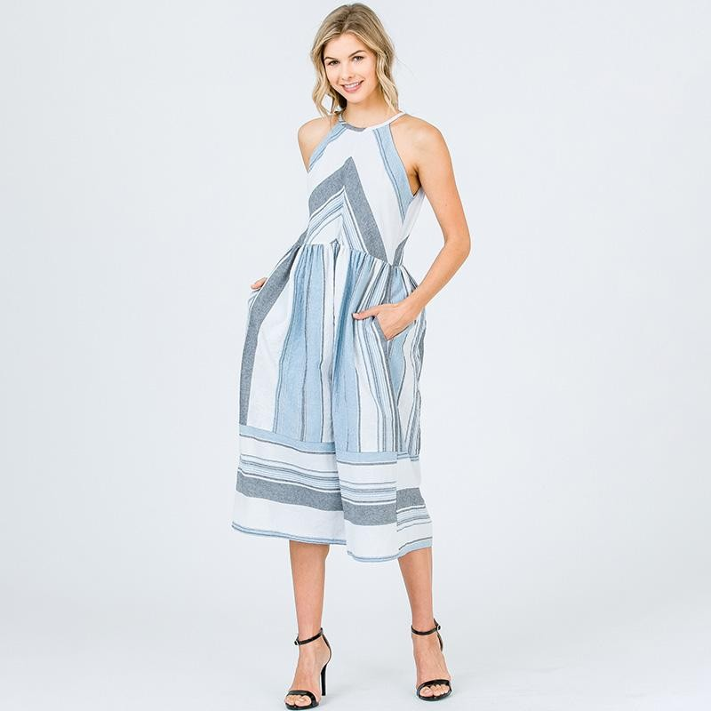 Annie Stripe High Neck Midi Blue