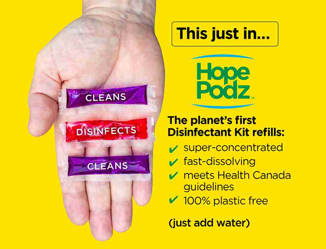 This Just In!! The Planet's first Disinfectant Kit Refills. Super concentrated. Fast-dissolving. Meets CDC Guidelines. 100% plastic-free. Just add Water.