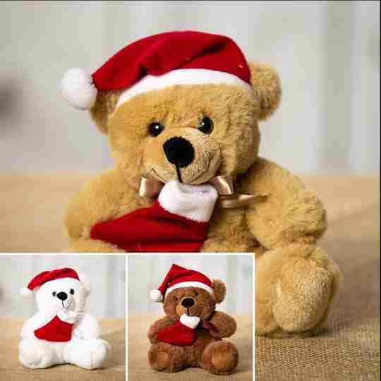 Three Santa bears with hats and a stocking that come in white, brown and beige.