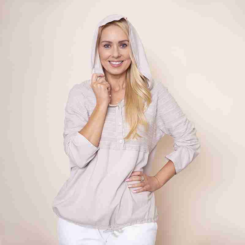 Hoody Drawstring Top (Beige)