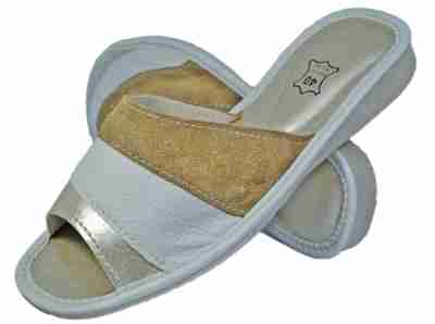 Ivory Women bedroom slippers - Reindeer leather