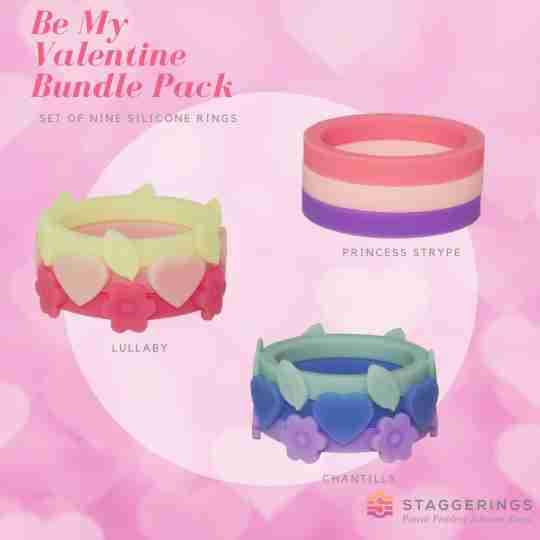 Be my valentine bundle pack silicone rings