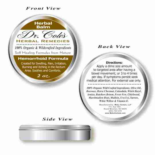 Front view and back view of Dr. Coles Hemorrhoid Balm.