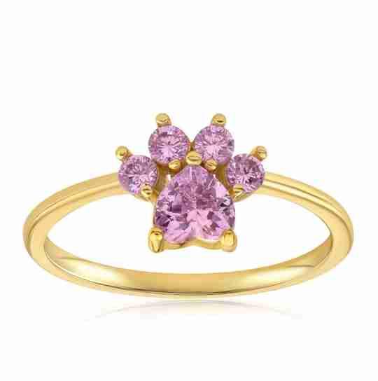The Blush and Bar Bella Paw Rose Quartz ring